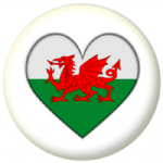 Wales Country Flag Heart 25mm Button Badge